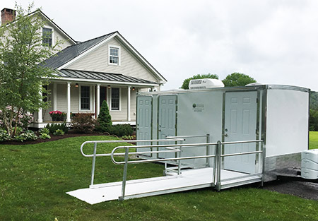 Our Accessibility Portable Restroom Trailer provides comfort and convenience for all your guests.