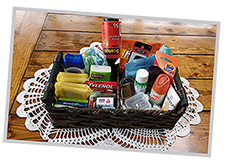 Baskets of personal toiletries keep guests happy.