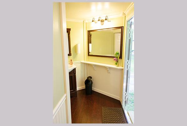 Well-lighted mirrors make our Luxury Portable Restrooms a favorite!